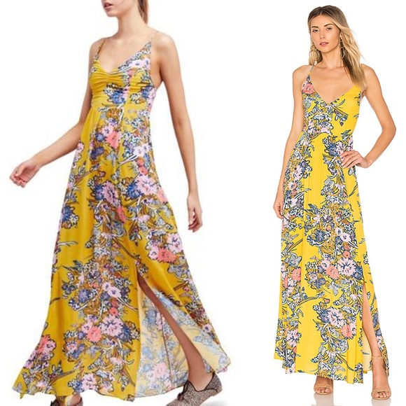 372ebfa4ac8b Free People Dresses   Skirts - Free People Through The Vine Maxi Gold Combo